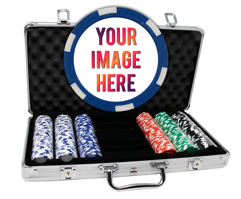 Custom poker chips with 300 poker chips in an aluminum case - 6 Stripe chips