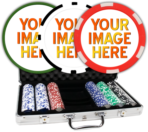 Custom poker chips with aluminum case - 300 chips