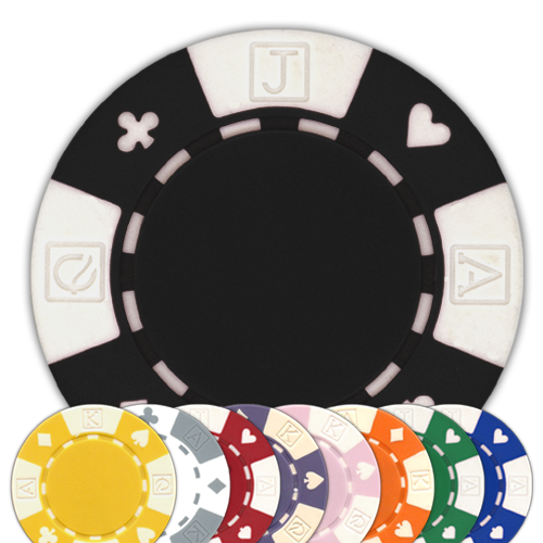 Card suited 11.5 gram clay composite poker chips in different colors