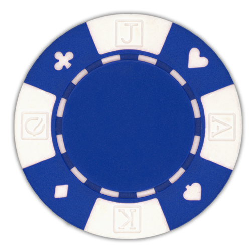 Blue poker chips in a card suited design - 11.5 gram clay composite poker chips
