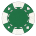 Green poker chips in a card suited design - 11.5 gram clay composite poker chips