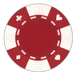 Red poker chips in a card suited design - 11.5 gram clay composite poker chips