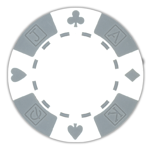 White poker chips in a card suited design - 11.5 gram clay composite poker chips