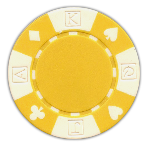 Yellow poker chips in a card suited design - 11.5 gram clay composite poker chips