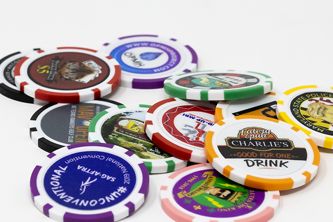 8 stripe custom full color poker chips