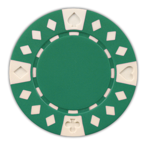 Green Diamond Suited 11.5 gram clay composite poker chips - 50 chips