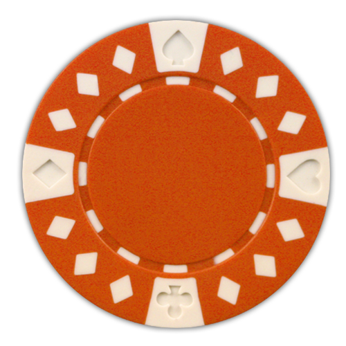 Orange Diamond Suited 11.5 gram clay composite poker chips - 50 chips