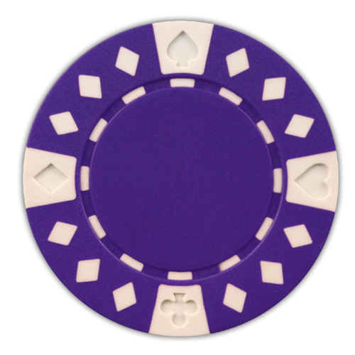 Purple Diamond Suited 11.5 gram clay composite poker chips - 50 chips