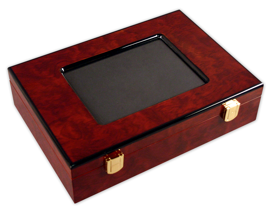 Poker chips case made of wood and a picture frame glass top - room for 200 chips