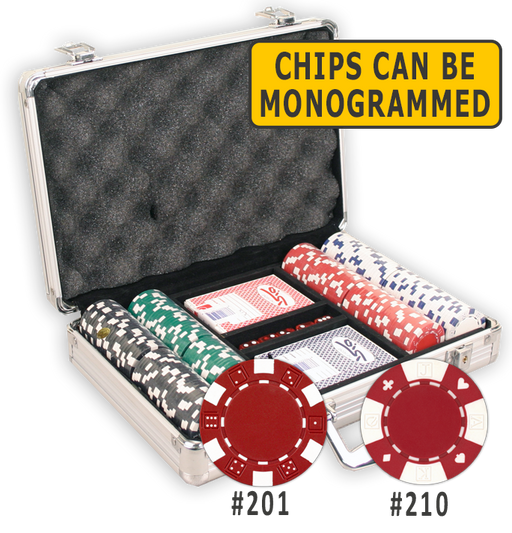200 poker chips in an aluminum poker chips case with cards and dice