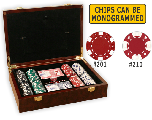 Complete poker chips set with 200 poker chips in a glossy wood case