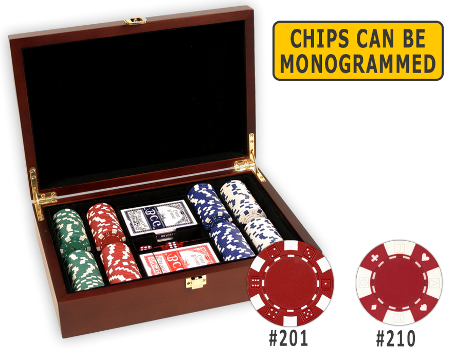 Poker chips set in a wooden mahogany finish and 200 chips