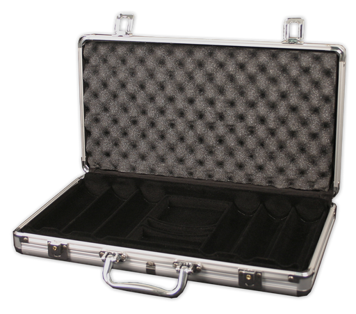 Aluminum poker chips case with space for 300 poker chips