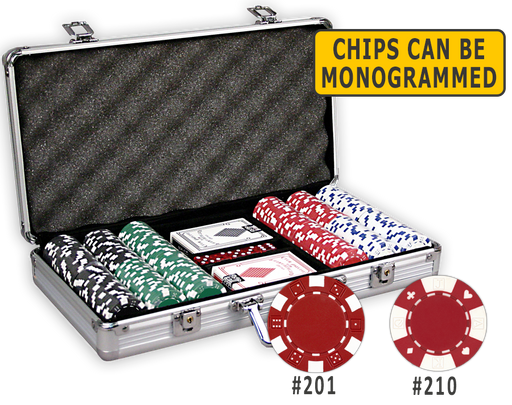 300 poker chips in an aluminum case with cards and dice
