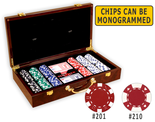 Poker chips set with 300 poker chips in a wood glossy finish case