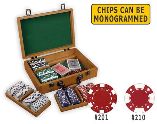 Poker chips set with 300 poker chips in an oak wooden case and removable chip trays