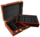 Glossy wooden poker chips case with room for 500 chips and accessories