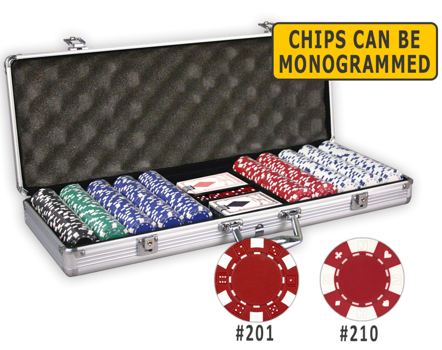 500 poker chips in an aluminum poker chips case with cards and dice