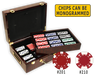 poker chips set with 500 chips and a glossy wood case