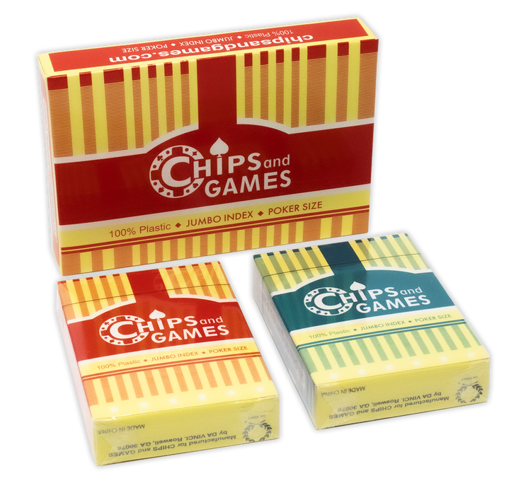 Plastic playing cards by CHIPS and GAMES in retail packaging