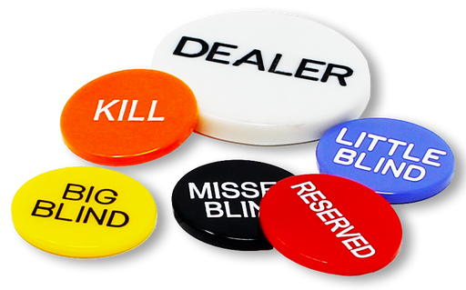 Poker dealer button package with 6 buttons