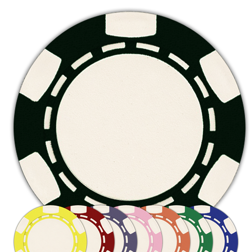 Six stripe clay composite poker chips in multiple colors