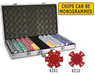 Complete poker chips set with 750 chips and aluminum case