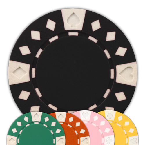 11.5 gram clay composite diamond suited poker chips in different colors