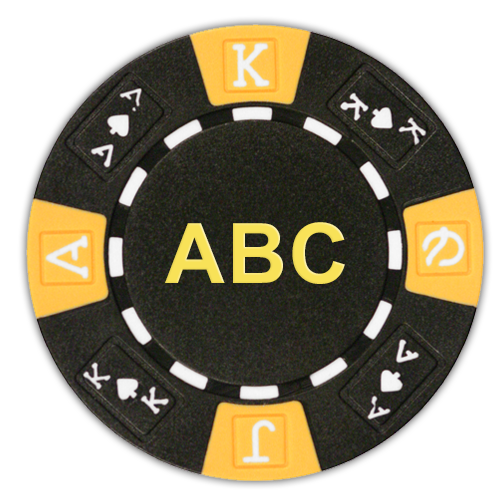 Custom monogrammed poker chips on 11.5 gram tri color ace king design poker chips