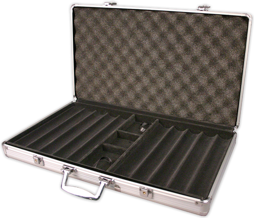 750 chip capacity aluminum poker chips case - silver