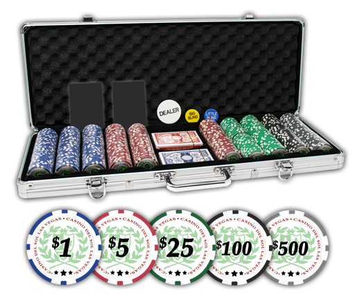 Casino Del Sol poker chips set with aluminum case and 500 poker chips