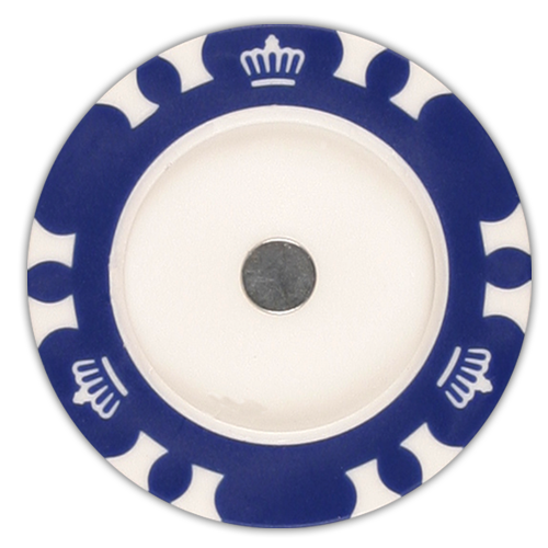 Magnetic poker chips with room for golf ball markers