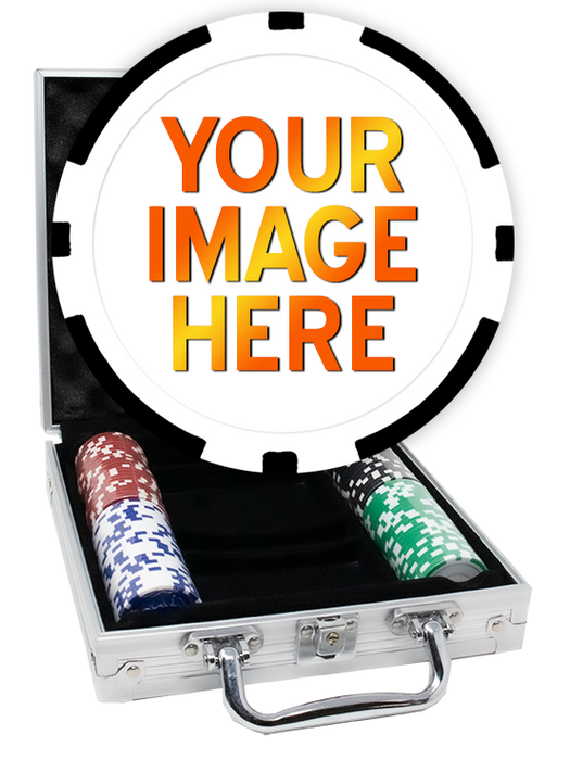 Custom poker chips set with an aluminum case - 100 chips