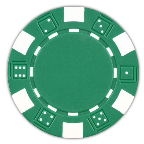 Green classic dice design 11.5 gram poker chips - set of 50 poker chips