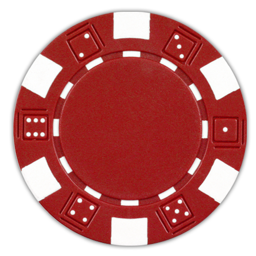 Red classic dice design 11.5 gram poker chips - set of 50 poker chips