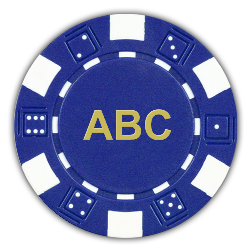 Classic dice deisgn monogrammed poker chips