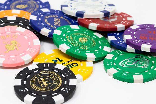 Foil heat stamped custom poker chips in the classic dice design