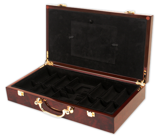 Wooden glossy poker chips case for 300 chips