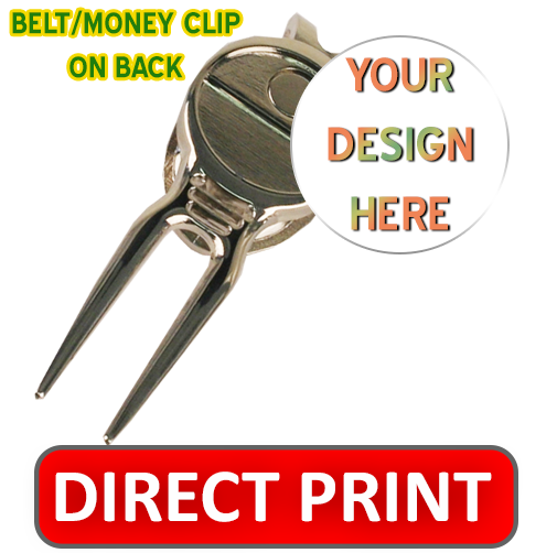 Golf divot tool with belt clip and custom removable ball marker