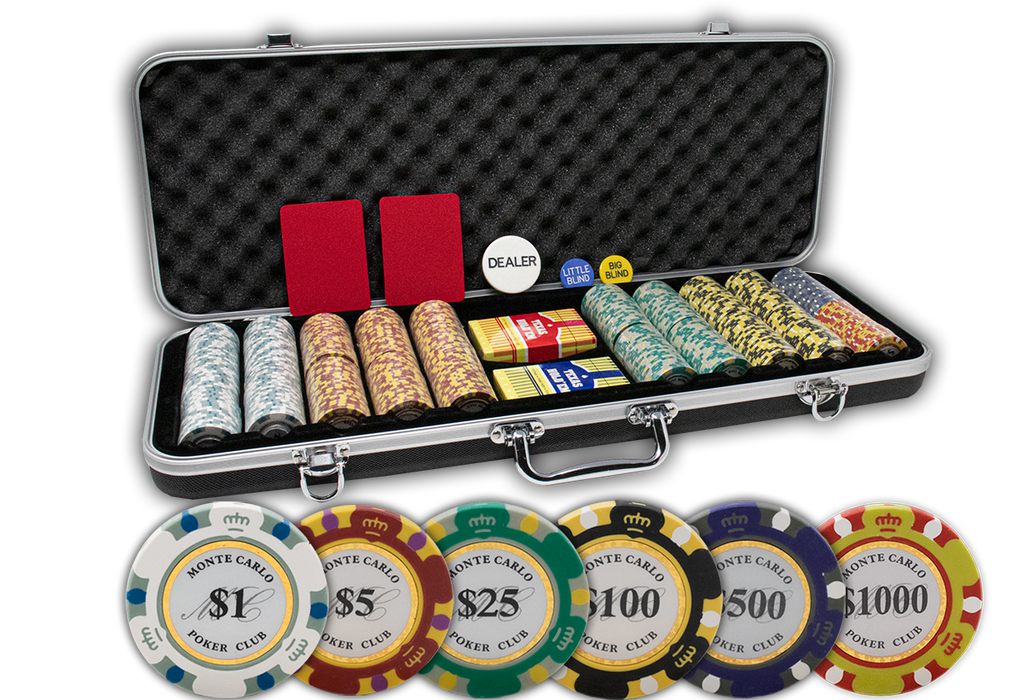 Monte carlo 14 gram clay poker chips with black ABS ding proof poker chips case