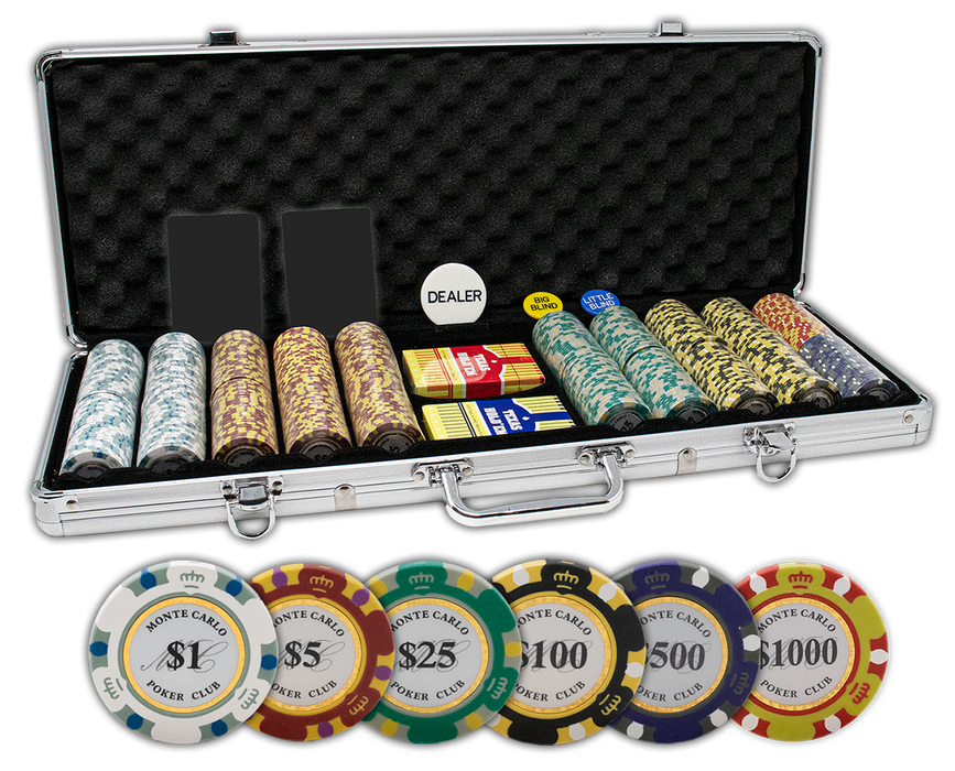Monte Carlo 14 gram clay poker chips set in aluminum case - 500 chips