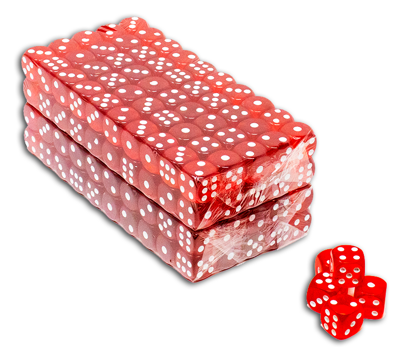 200 red translucent casino gaming 16mm dice