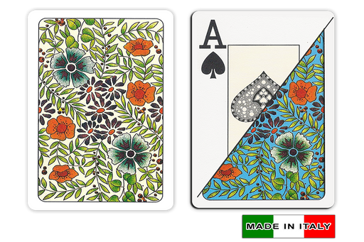 Fiori design plastic playing cards made in Italy - poker sized by DA VINCI
