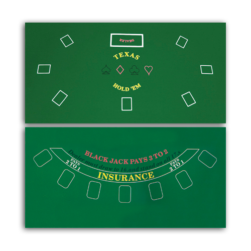 Two sided Texas Holdem and Blackjack felt layout