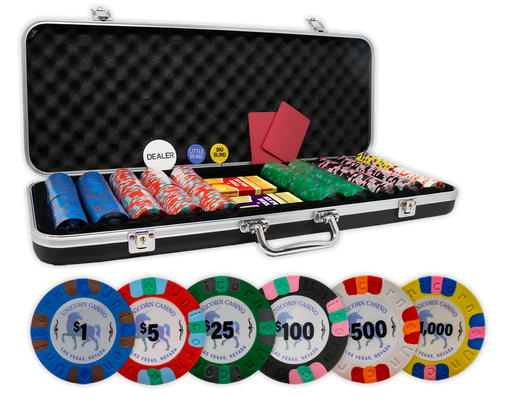 UNICORN CASINO all clay poker chips set in a black ABS case with plastic playing cards