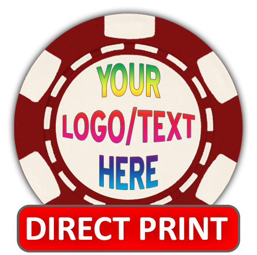 Full color custom poker chips with direct printing on 6-stripe poker chips