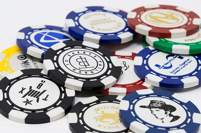 Six stripe cusotm poker chips hot foil stamped with your logo