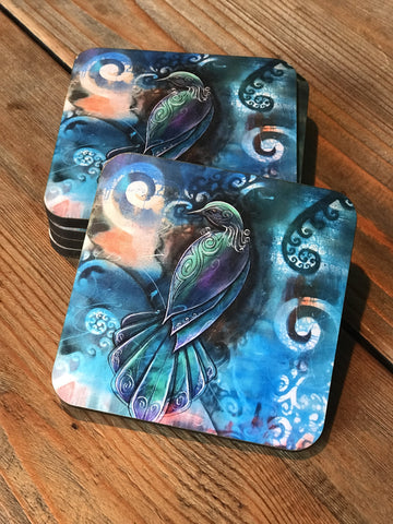 Coasters - Tui (Set of 6) NZ Native Bird.