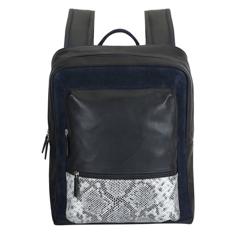Navy Blue and Print Leather backpack by Squareloop