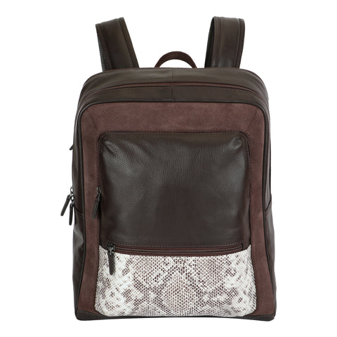 Brown and Print Leather backpack by Squareloop